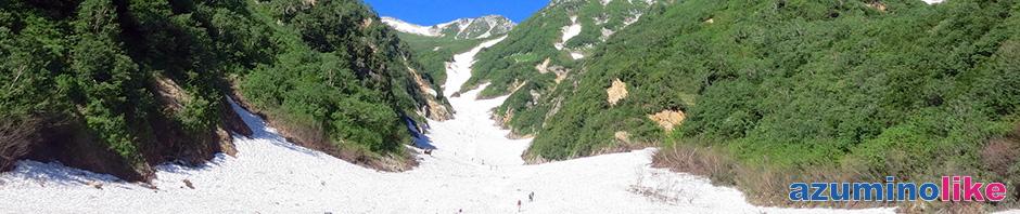 2015/7/11【針ノ木大雪渓】青空のもと、アイゼン頼りに花見も兼ねたハイキングは何とも清々しく大雪渓ならではです。