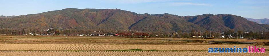 2015/11/6【里山の秋】安曇野・穂高の東方に見える山は右に光城山、左が長峰山で、紅葉真っ盛りです。