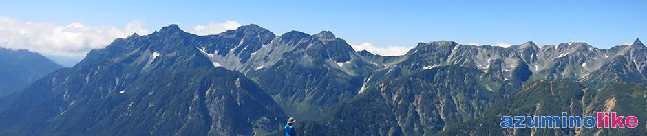 2014/9/9【常念岳山頂からの眺望】山頂からは北アルプスの名峰が手に取るように見えて、大興奮。眼前には穂高連峰、右端は槍ヶ岳ですね。