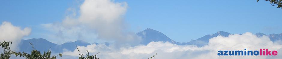 2016/9/10【光城山から望む常念岳】正面、常念岳の右には槍ヶ岳も小さく見えます。