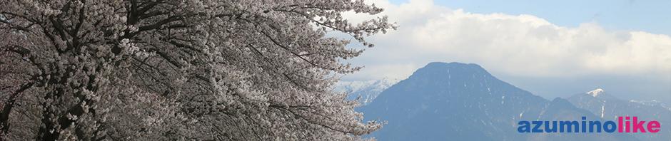 2016/4/13【有明山と桜】穂高川沿いの桜は今や満開で、早春賦の碑の傍から見た有明山と桜がよくマッチしていました。