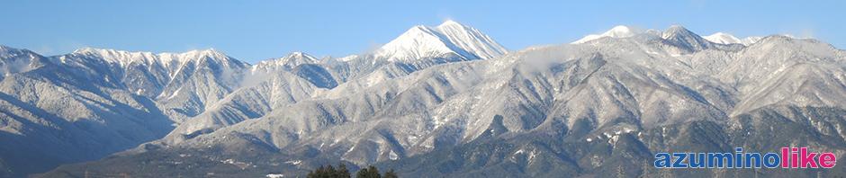2015/12/20【安曇野・師走の風景】12月に入ると、山は次第と白さを増してきます。本格的な冬はもう間近です。