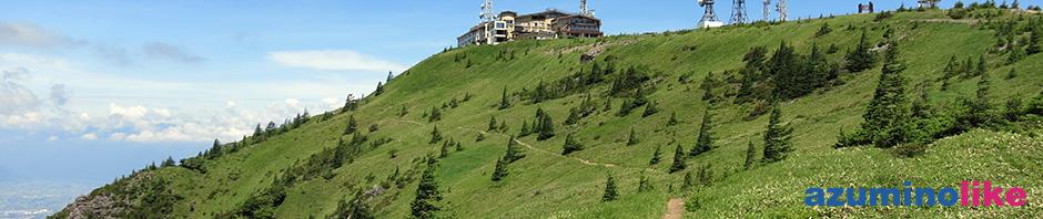 2017/7/11【美ヶ原、アルプス展望コース】山頂に伸びる登山道にはノンビリと牛もいて、まさに天空のパラダイスです。