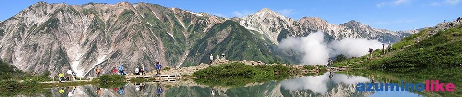 2017/8/27【八方池から望む白馬三山】八方池には今までに7〜8回登りましたが、風もなく鏡面返しに映る三山は初めて見ました。興奮の1枚です。