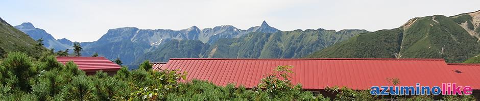 2017/9/4【常念小屋から見る槍ヶ岳】常念岳登山で途中の常念小屋から見た槍ケ岳は圧倒的で、疲れが癒されました。