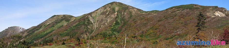2017/10/1【めざす火打山】登山途中の「天狗の庭」と言う湿地帯から見た火打山(中央)、紅葉のピークが少し過ぎたとはいえ景観を十分な楽しめました。