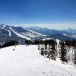 ⑤ 遠く一ノ瀬スキー場:焼額(ヤケビタイ)山から遠くに一ノ瀬ファミリースキー場が見えます。あちら側からここまでよく来たものだ!
