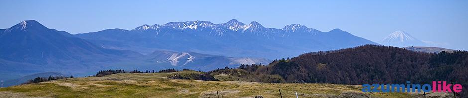 2020/5/28【ビーナスラインからの遠景】ビーナスラインで美ヶ原から霧ヶ峰、白樺湖までドライブ。左から蓼科山をはじめ遠く八ヶ岳、富士山と、山々が映えます。