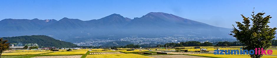 2020/9/30【収穫の秋、浅間山遠景】収穫の進む秋の田園風景と浅間山の雄姿が 絵になり、見事な秋晴れです。