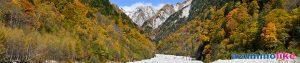 2020/10/26【高瀬ダムの奥の紅葉】吊り橋から見た紅葉の谷の先は初冠雪を終えた船窪岳(標高2,459m)のようです。